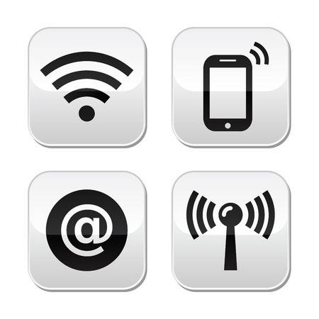 vier Piktogramme für Kommunikationsdienste