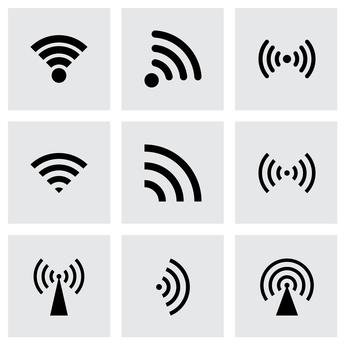 Neun Piktogramme, die Funksender symbolisieren