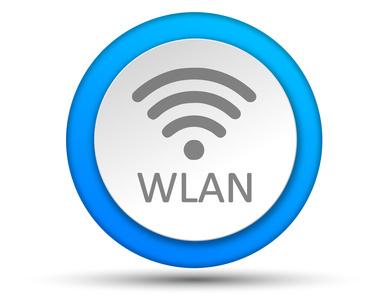 WLAN-Symbol in blauem Kreis