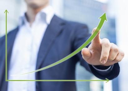 Diagramm eines sich beschleunigenden Wachstums