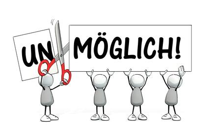 """Karikatur, die """"un"""" von """"unmöglich"""" abschneidet"""
